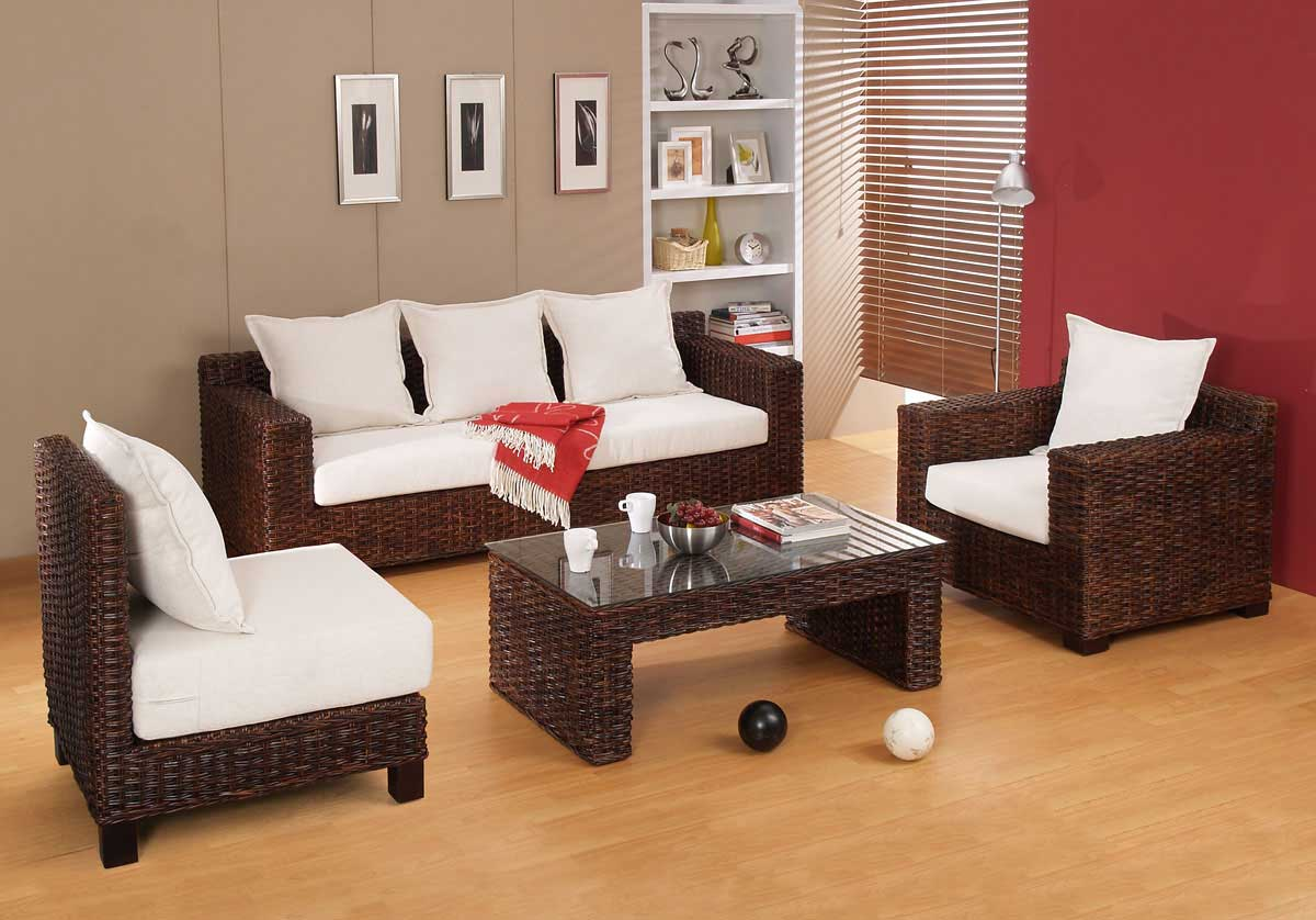 Accent living room furniture unicane wicker and rattan for Wicker living room furniture